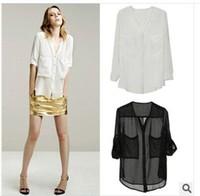 Spot wholesale factory direct white chiffon shirt chiffon shirt big pocket chiffon shirt female