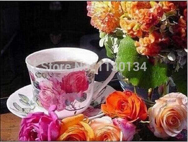 Diy 3d diamond painting square drill full rhinestone pasted painting cross stitch flower rose tea bottle HC033(China (Mainland))