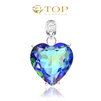 Top fashion new 2014 crystal jewelry for women heart love rainbow mystic topaz pendants 925 sterling silver plated