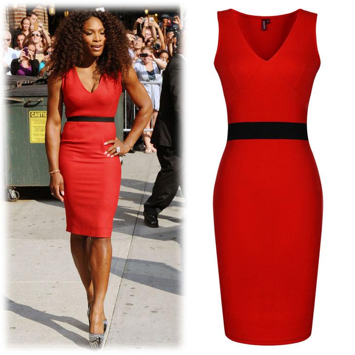 Платье красное карандаш