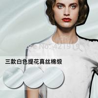 Eq* pm* nt     White jacquard cotton satin fabric 19 Mumi true