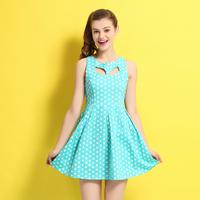 Japan hollow out back dot sexy vest  emprie one-piece dress-8707