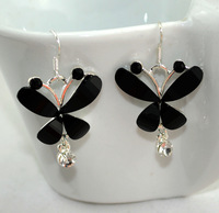 Small pure and fresh and lovely fashionable tide people butterfly temperament set crystal earrings adorn article