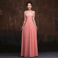 Fashionable One Shoulder Chiffon Blue Lace Long Evening dress Pink robe de soiree Slim floor length gown Prom dresses 2014 E77