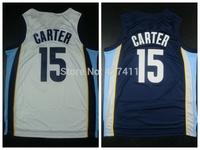 Memphis 15 Vince Carter Jersey,  Vince Carter White Dark Blue Memphis Rev 30 Basketball jersey,Embroidery Lgos , Size: S-XXL