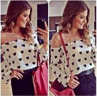 9870 free shipping Hot sale 2014 summer women fashion blouse Casual chiffon Shirt Loose Fit Long Sleeve blusas