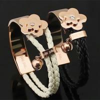Greek Fashion Brand F F Crystal Flower Women Bracelets 18k Rose Gold Plated Titanium Steel Leather Bracelet Bangle Jewelry Gifts
