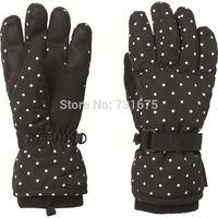 Go sport sports 's top thermal waterproof ski gloves liner fleece gloves child paragraph polka dot