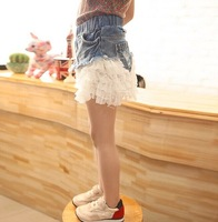 5pieces/lot,  Baby Demin Skirt, Kids Girls splicing chiffon Skirts, 3-10years, A-ka063