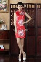 Free Shipping 2014 Hot Sale Chinese Traditional Dress Cheongsam Linen Summer Fashion Vintage Summer Short Qipao