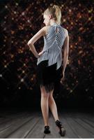 Adult Latin dance clothes Latin dance skirt costumeblack and white stripe    female Latin one-piece dress