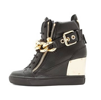 fashion black leather height increasing wedge sneakers 2014 newest gold chains buckle strap casual shoes leisure shoes
