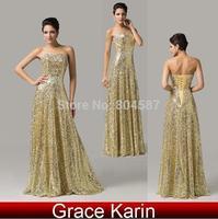 Luxury Grace Karin A-line Sequin Strapless Long Pageant Vestidos Wedding Party Dresses Formal Celebrity Dress Golden AL16 CL6103