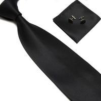 NEW Retail man's black neck tie set necktie hanky cufflinks soid color men's ties sets -165C