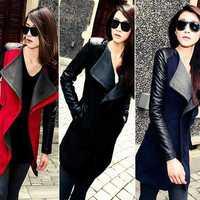 Plus Size Wholesale New 2014 Fashion Patchwork Womens Long Warm Wool PU Leather Sleeve Jacket Coat Windbreaker Free Shipping