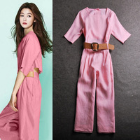 2014 summer high-end women's star with elegant square collar breathable cotton removable piece pants dress