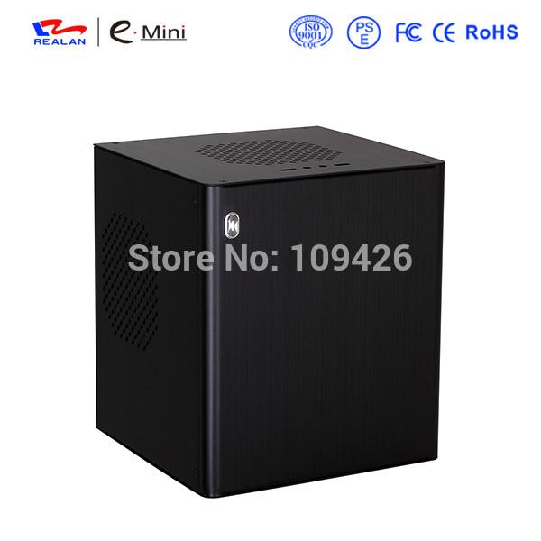 Realan D3 Black Mini ITX Aluminum Chassis Server Rack Case Computer, 2 x PCI Slots, HDD WIFI COM USB2.0 USB3.0(China (Mainland))