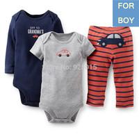 Hot New 2014 Carter's Product Baby Boy 3-pcs Bodysuit Pant Set Stripe Car Infant ClothingSuits3-24M, In store, YW