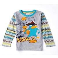 Retail 2014 NOVA kids tops child clothes printed cute cartoon fashion kids boy long sleeve ctton  causal t-shirt A3135