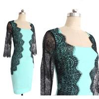 2014 New Fashion Women Empire Vintage Crochet Lace Patchwork SquareCollar Bodycon Floral print Party Pencil Dress Plus Size S-XL