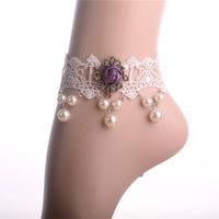 Purple flower pearl anklet jewelry bijouterie wholesale costume jewellery Vintage Gothic vampire Lolita fashion Lace jewelery