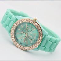 Free shipping New Fashion 11 colors Rhinestone GENEVA Watch Gel Crystal Silicone Jelly watch women dress watch