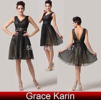 Luxury Grace Karin A-line V-Neck Sleeveless Chiffon Sequin Ball Wedding Party Short Formal Banquet Prom Dress Black AL16 CL6156