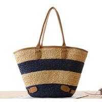 2014 brief stripe straw bag woven bag beach bag fashion women's handbag innumeracy