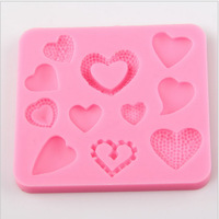 5pcs/lot Hot selling new arrival 11 loves silicone fondant embosser molds cake decorating mould tools