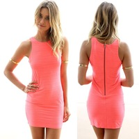 Ultra hot 2014 Summer Casual Bodycon Mini Dress Desigual Style Soft-feel and Soft Waves Women Dress vesitidos Free Shopping