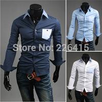 Free Shipping 2014 New mens dress shirts slim fit camisetas masculinas camisetas hombre patchwork mens casual shirt