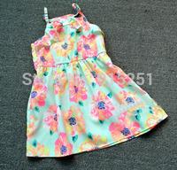 freeshipping New arrival  brand  Girls summer Dress , 2-5Y girl flower print chiffon dress