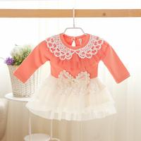 2014 New baby girls princess dress children autumn lace dress long sleeve bow hot drilling pink/yellow 5 pcs/lot wholesale 1671