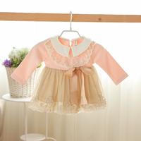 2014 New baby girls princess dress children autumn lace dress long sleeve bow embroidery 4 colors 5 pcs/lot wholesale 1672