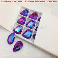 10x14mm 13x18mm 18x25mm 20x30mm 30x40mm Siam Red AB Color Drop Pear Pointback Glass Crystal Fancy Stone