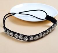 2014 new Wholesale fashion handmade pearl sewing gems chain beads elastic hairbands headband  hairband hair accessories