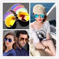Free Shipping Unisex Retro Womens Mens Fashion Aviator Mirror Lens Sunglasses Glasses SG-0004