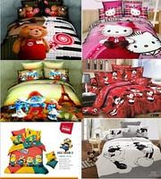 dropship brand 100%cotton cartoon boy girl princess kitty cat bear micky  queen printed duvet quilt cover set bedding set
