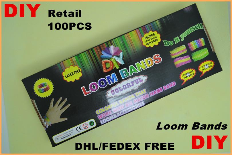 120pcs dhl free Rainb0w loom DIY rubber wrist bands bracelets 600 pcs bands+24 pcs S clips+1 pcs Hook+1pcs shell+box packaged(China (Mainland))