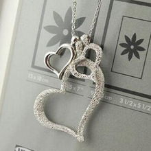 x44 Korean jewelry frosted love three heart necklace long sweater chain female Free Shipping(China (Mainland))