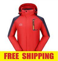Brand men 2in1 winter waterproof windproof hiking camping ski outdoor jacket coat clothes fleece outerwear parka hoodies