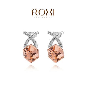Roxi мода дамы ювелирные изделия высокое качество белый позолоченные заполненные сияющий австрийский хрусталь с бежевый камень мотаться