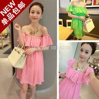 2014 dress female sweet slit neckline strapless fashion skirt
