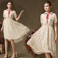 2014 women summer dress short-sleeve plus fresh small floral lapel thin print edge lace chiffon swing dress long dress