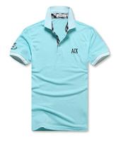 Top brand men's lapel short sleeve cotton pique cotton material of British fashion collar striped classic fashion men T shirt