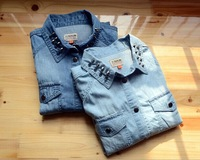 Free shipping 2014 new spring over gas field each original single long-sleeved blouse favorite star rivets Slim denim shirt