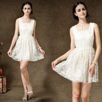 fashion Princess 2014 new spring and summer sleeveless chiffon dress square mesh white chiffon party evening dress