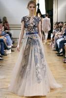 2014 star Heavy embroidery stunning catwalk plus size gauze dress gown bridesmaid dresses elegant