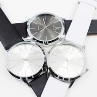50pcs New Fashion PU Leather Wristband Round Shape Analog Quartz Eletronic Clock Mens Dress Wrist Watch