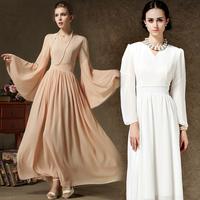 retro 2014 women summer dress  ultra style Feifei sleeve chiffon waist plus size solid word pink white dresses evening dress